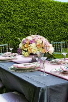 Pink and gray wedding decor #grayweddings #weddings