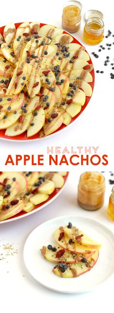 Looking for a healthy, kid-friendly snack idea? Slice up some apples and dress them up with nut butter, honey, seeds, and dried fruit to make apple nachos!