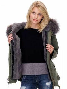 Damen #Winterparka mit #Fell Farbe: Khaki (olive) #rosa #grau #olive Form: Kurz - Bild vergrößern