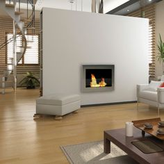 Indoor wall mounted fireplace from Anywhere Fireplaces. #bathroom
