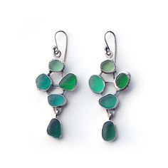 Green sea glass mosaic earrings by Tania Covo