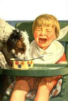 Dog eats toddler's food     - from http://freepages.nostalgia.rootsweb.ancestry.com/~parisho/kids.html