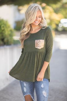 Bright Times Sequin Pocket Blouse Olive