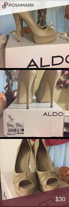 Aldo heels Excellent quality.  Very comfortable leather.  I hate to sell but I guess I can no longer walk comfortably in heels this height.   Ha  Darn it!!!! Aldo Shoes Platforms
