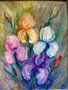 painting oil on canvas, Iris, Oil On Canvas, Painting, Irises, Painted Canvas, Painting Art, Paintings, Oil Paintings
