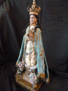 Magnificent 19th C. Spanish carved wood Santos Madonna doll  : original clothing : glass eyes