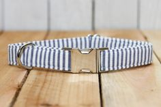 Dog Collar Navy and White Seersucker Stripes 4th by ZaleyDesigns, $25.00
