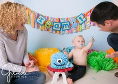 Family photo, first birthday cake, Monsters Inc., Newport Beach, Monster smash cake, 1st birthday, baby boy, Orange County photographer, birthday cake smash, first birthday cake, portrait session, Blue, French's cupcake bakery, monster theme, GilmoreStudios.com