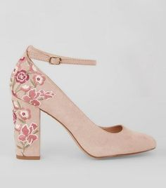- Soft suedette finish- Floral embroidered detail- Ankle strap fastening- Block heel- Rounded toe
