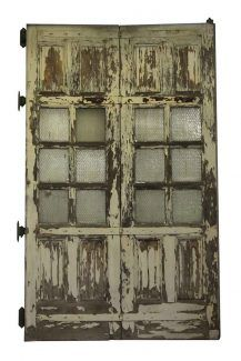 Large Wooden Doors with Six Chicken Wire Glass Panels