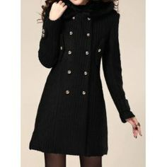 $37.77 Double-Breasted Long Sleeves Hooded Ladylike Style Solid Color Coat For Women