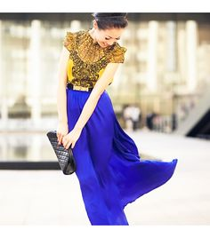 Blue Tang :: Yellow lace & Royal blue silk by Wendy Nguyen Love Fashion, High Fashion, Fashion Outfits, Womens Fashion, Winter Fashion, Glam Look, Wendy's Lookbook, Yellow Lace, Blue Gold