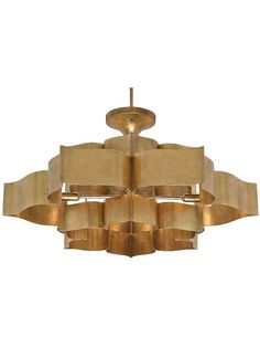 Stunning workmanship is highlighted in the formation of the Grand Lotus Chandelier which is made from wrought iron and sheet metal and then skillfully finished in Antique Gold Leaf. The Grand Lotus Chandelier is a gorgeous interpretation of the classic Sputnik Chandelier, Chandelier Ceiling Lights, Flower Chandelier, Flower Lamp, Pendant Lighting, Light Pendant, Ceiling Lamp, Gold Pendant, Flower Lights