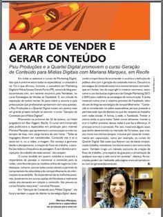 Revista Pronews fez uma matéria sobre o curso Geração de Conteúdo nas Mídias Sociais com a Mariana Marques em Recife.
