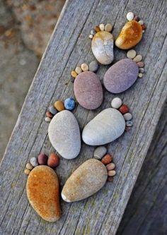 【石 石頭 stone】 Pebble art, Pebble feet, Pebble foot prints Crafts For Kids, Arts And Crafts, Diy Crafts, Beach Crafts, Rustic Crafts, Art Pierre, Stone Art, Pebble Stone, Yard Art