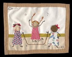 Jump Rope Little Mini Quilt by shelece on Etsy Easy Quilts, Small Quilts, Mini Quilts, Fabric Cards, Fabric Postcards, Applique Quilts, Embroidery Applique, Textiles, Fabric Pictures