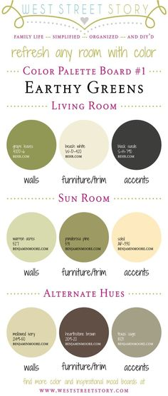 Earthy Greens Color Palette Board - Head on over to the blog to read tips on painting with these colors!