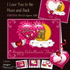 """Love You to the Moon and Back Kit on Craftsuprint designed by Maria Christina Vieira  - A delightful Valentine's card front kit with the right words for a perfect love.This cute kit comes with a matching insert With Love texted on the beneath the sentiment area to give your sentiments a finishing touch, many little heart labels with various Valentine love text,a matching Tag and two pyramid layers for the main heart. On the card front heart it is texted with """" I Love You to the Moon and…"""