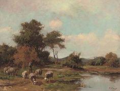 Anton Mauve - Herder en zijn kudde bij een meer