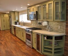 Holiday Kitchens Seattle Shaker Cabinets, Corian Solid Surface Countertops,  Kosher Kitchen, Glass Doors