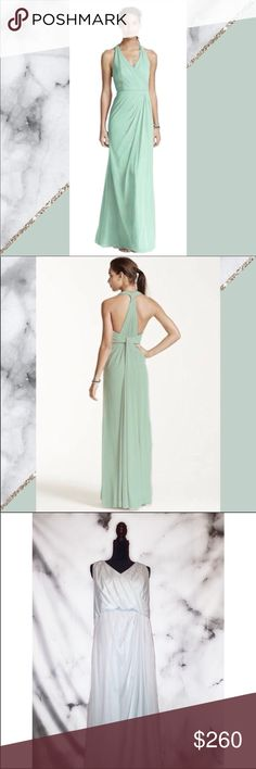 Bridesmaid Dress Mesh T-Strap Back Halter (Mint) *DISCLAIMER* The color is a lot lighter in person than stock photo. It's more like barely a hint of mint than exactly mint.   This contemporary T-strap back halter dress is truly unforgettable! Halter dress features a deep V-neckline. Chic T-strap back with dramatic draping adds a modern twist to a classic silhouette. Fully lined. Imported polyester. Back zipper. Dry clean only.   Brand: David's Bridal Style: Bridesmaid Size: 18 Length: Long…