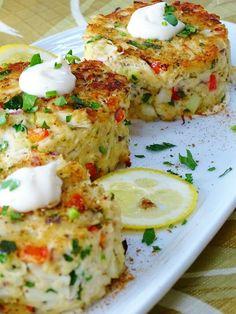 baked crab cakes Crab Cake Recipes, Fish Recipes, Seafood Recipes, Gourmet Recipes, Cooking Recipes, Healthy Recipes, Cooking Rice, Healthy Soup, Cooking Bacon