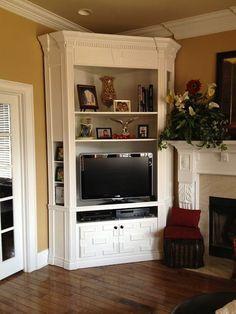 Homemade built-in, tv stand more. homemade built-in, tv stand more corn Built In Tv Cabinet, Tv Built In, Built In Cabinets, Corner Tv Stands, Corner Tv Unit, Corner Space, Corner Wall, Homemade Tv Stand, Corner Tv Cabinets
