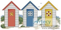 Beach Huts Counted Cross Stitch Pattern http://www.artecyshop.com/index.php?main_page=product_info&cPath=55&products_id=1304