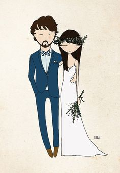 personalized wedding portrait for wedding by Blankaillustration