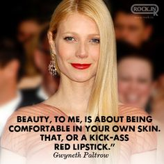 Bright Red Lipstick, Lyric Quotes, Lyrics, George Clooney, Badass Women, Gwyneth Paltrow, Nyc Fashion, Fashion Quotes, Jennifer Aniston