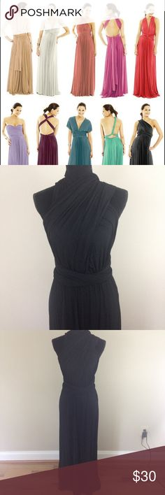 NWOT Convertible Maxi Dress Never worn. Can wear this dress SO many different ways. Tutorials all over the Internet. Skirt section sits at waist, then two long straps can be wrapped around various ways for styling. Super comfortable material. 95% modal 5% spandex. Dresses Maxi