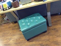 How cute is this storage ottoman? And it's only $159. Love it! #decorate #storage #smallspaces #dormroom