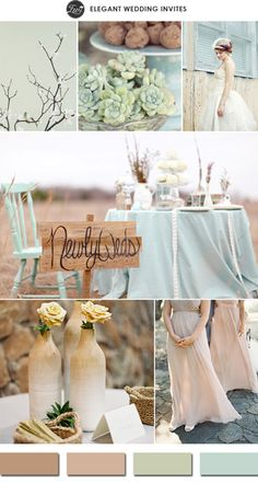 rustic chic toasted almond nude and greens neutral colors wedding ideas 2015 trends