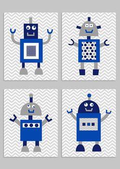 Robot Nursery Art, Grey Navy Royal, Boy Room Decor, Robot Nursery Decor, Robot Canvas Art, Baby Boy Nursery, Baby Shower, Nursery Art Prints Robot Nursery, Nursery Art, Nursery Decor, Boys Room Decor, Boy Room, Canvas Art, Canvas Prints, Art Prints, Grey Colour Chart