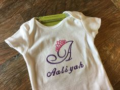 Custom Princess Tiara Crown Onesie Monogrammed Name Front Personalized White preemie newborn 0 3 6 9 12 18 24 mo 2-3-4T Embroidered by NYLAKELLEYDESIGNS on Etsy
