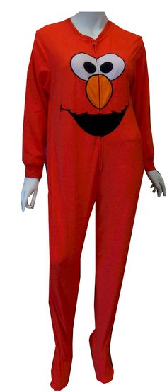 Sesame Street Elmo Fleece Onesie Footie Pajamas Elmo loves fleece! These pajamas for women feature an embroidered Elmo face on a super soft red micro polar fleece. This onesie has a half-zip front, knit cuffs at the wrists and gripper bottom feet. Machine washable and easy care. Junior cut.