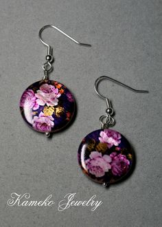 My friend Yuki makes these!   They are always beautiful.  Purple Floral Earrings
