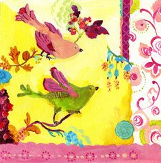 Yellow Berry Birds Giclee Canvas print by by GoldfishMarmalade