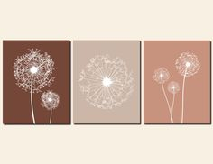 Dandelion Wall Art Brown Tan Neutral Prints Baby Girl Nursery Art Bedroom Art Home Decor Living Room Kitchen, Any Color, Set of 3 Art Prints by vtdesigns on Etsy