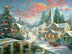 (usa) Heaven on Earth by Thomas Kinkade (1958- 2012). born in California.