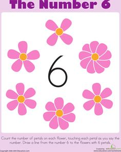 Preschool Counting & Numbers Worksheets: Learning Numbers: 6