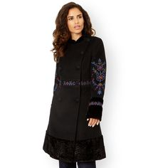 Monsoon Alessandra Coat ($229) ❤ liked on Polyvore featuring outerwear, coats, oversized coat, black double breasted coat, black coat, black oversized coat and floral print coat