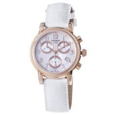 Tissot Women's Dressport Mother of pearl Chronograph Dial Watch. These Women's Tissot watches with. Best Solar Watches, Big Watches, Cheap Watches, Casual Watches, Wrist Watches, Quartz Watch, Chronograph, Pearls, Amazon Online
