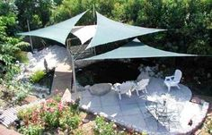 Choose your own shady spot. These pre-made sail shades come in triangles, right triangles and squares of high density shade material. We've always liked the look of them, but figured they would be super-pricey. Not so - prices range from $129.99 for at 12' triangle to $309.95 for a 18' square.