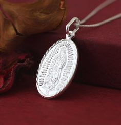 Silver Guadalupe Necklace, Sterling Silver Our Lady of Guadalupe Medal, Gudalupe Solid Medal, Virgen de Guadalupe Oval Necklace by theangelfaith on Etsy
