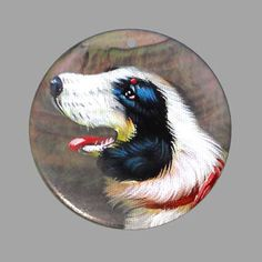HAND PAINTED DOG  NATURAL MOTHER OF PEARL SHELL NECKLACE PENDANT ZP30 00386 #ZL #Pendant