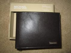 NEW Michael Kors Bifold Wallet Passcase MENS Brown Genuine Leather Gift Box..free shipping
