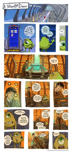 Doctor Who x Monsters Inc by *MelissaDalton on deviantART It's fitting that the monsters would mistake the doctor's house for a kids room