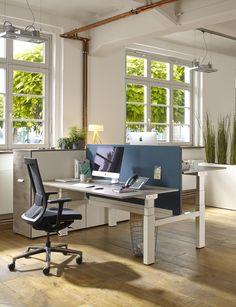 Der Höhenverstellbare Schreibtisch Active Eignet Sich Auch Als  Doppelarbeitsplatz. Dabei Dient Eine Trennwand Als Sicht