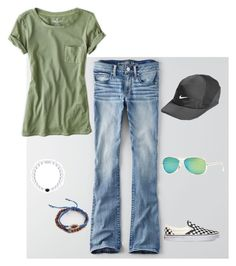 """Cute Slouch"" by margie-santos on Polyvore featuring American Eagle Outfitters, Vans, NIKE, Ray-Ban and Tai"